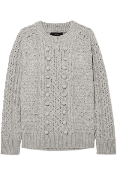 J.Crew Azra Cable-Knit Sweater In Gray