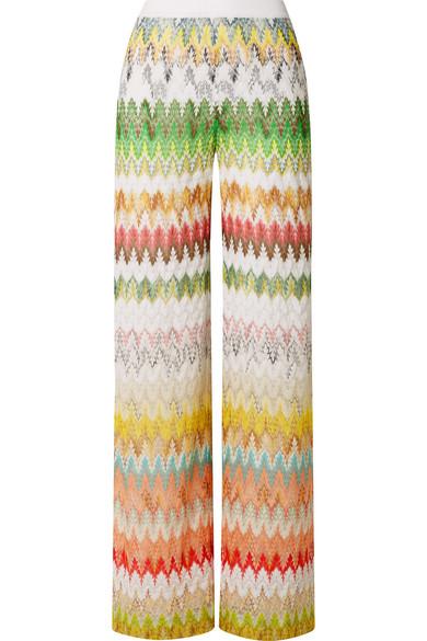 Missoni Crochet-Knit Wide-Leg Pants In Green