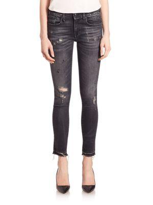 R13 Alison Distressed Cropped Jeans In Strummer Black