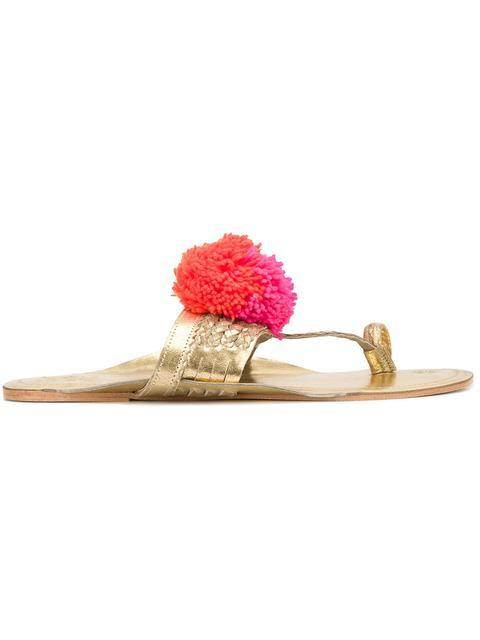 Figue 'leo' Pompom Braided Leather Thong Sandals In Gold/pink Multi