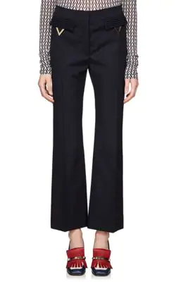 Valentino V-Ornament Wool Wide-Leg Pants In Navy