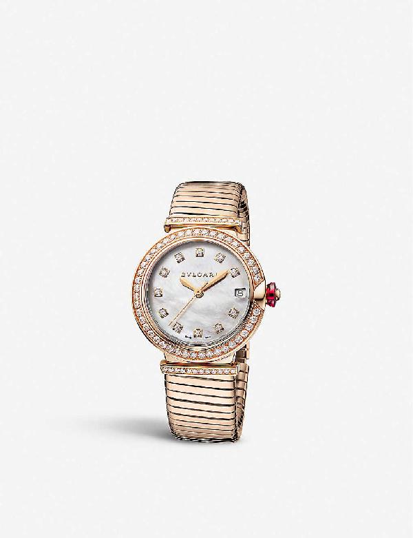Bvlgari 103034 Lvcea Tubogas 18ct Rose-gold Watch In White