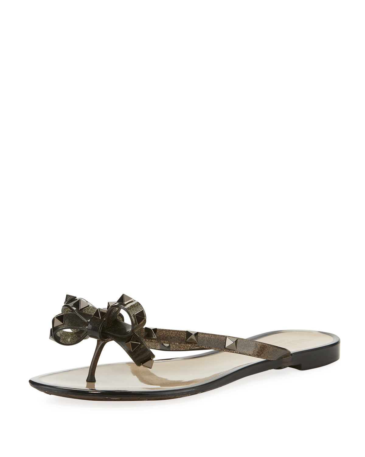 43a7a9ef7 Valentino Rockstud Flat Jelly Thong Sandals In Black