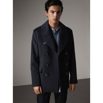 Burberry Wool Cashmere Pea Coat In Navy