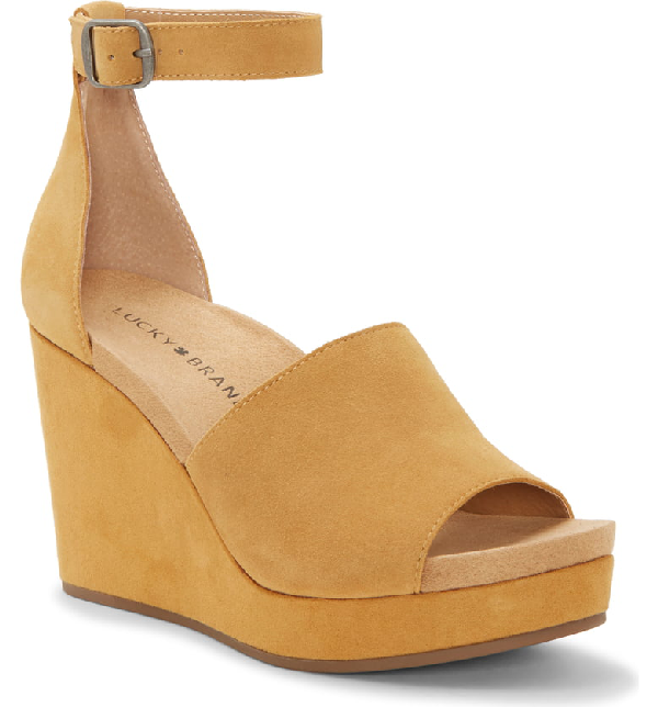 6ac38d2e55 Lucky Brand Yemisa Wedge Ankle Strap Sandal In Titanium Suede | ModeSens