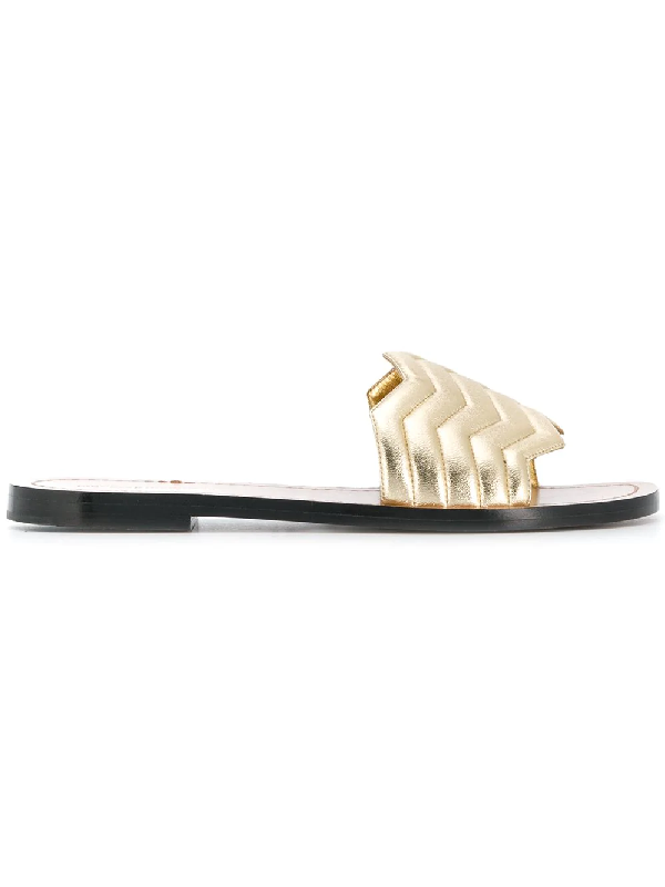 Nicholas Kirkwood Chevron Leather Slide Sandals In Metallic