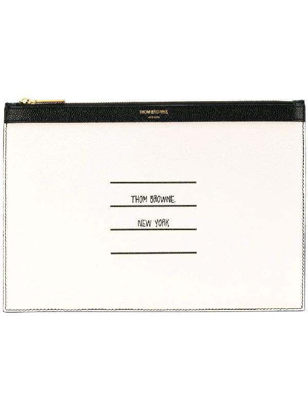 0274fc206178 Thom Browne - Logo Print Pebblegrain Leather Tablet Holder - Mens - Black  In 001 Black