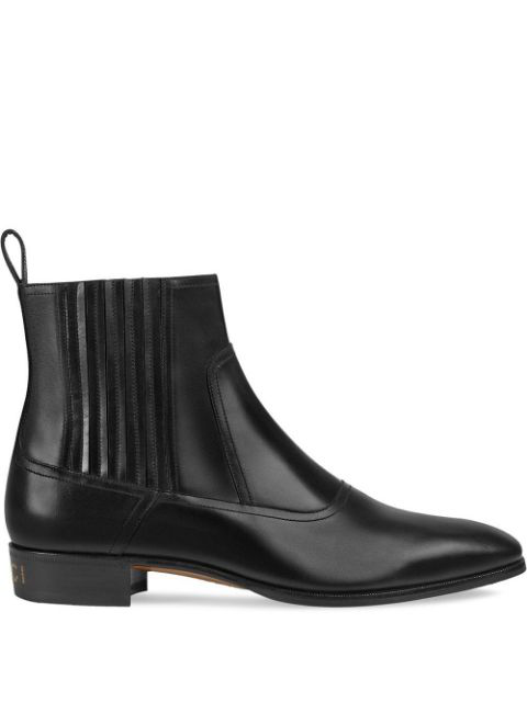 Gucci Plata Leather Chelsea Boots In Black