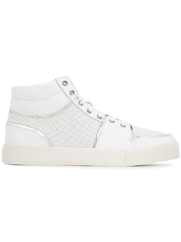 e52fba15e0e Balmain Perforated High-Top Leather Trainers In White | ModeSens