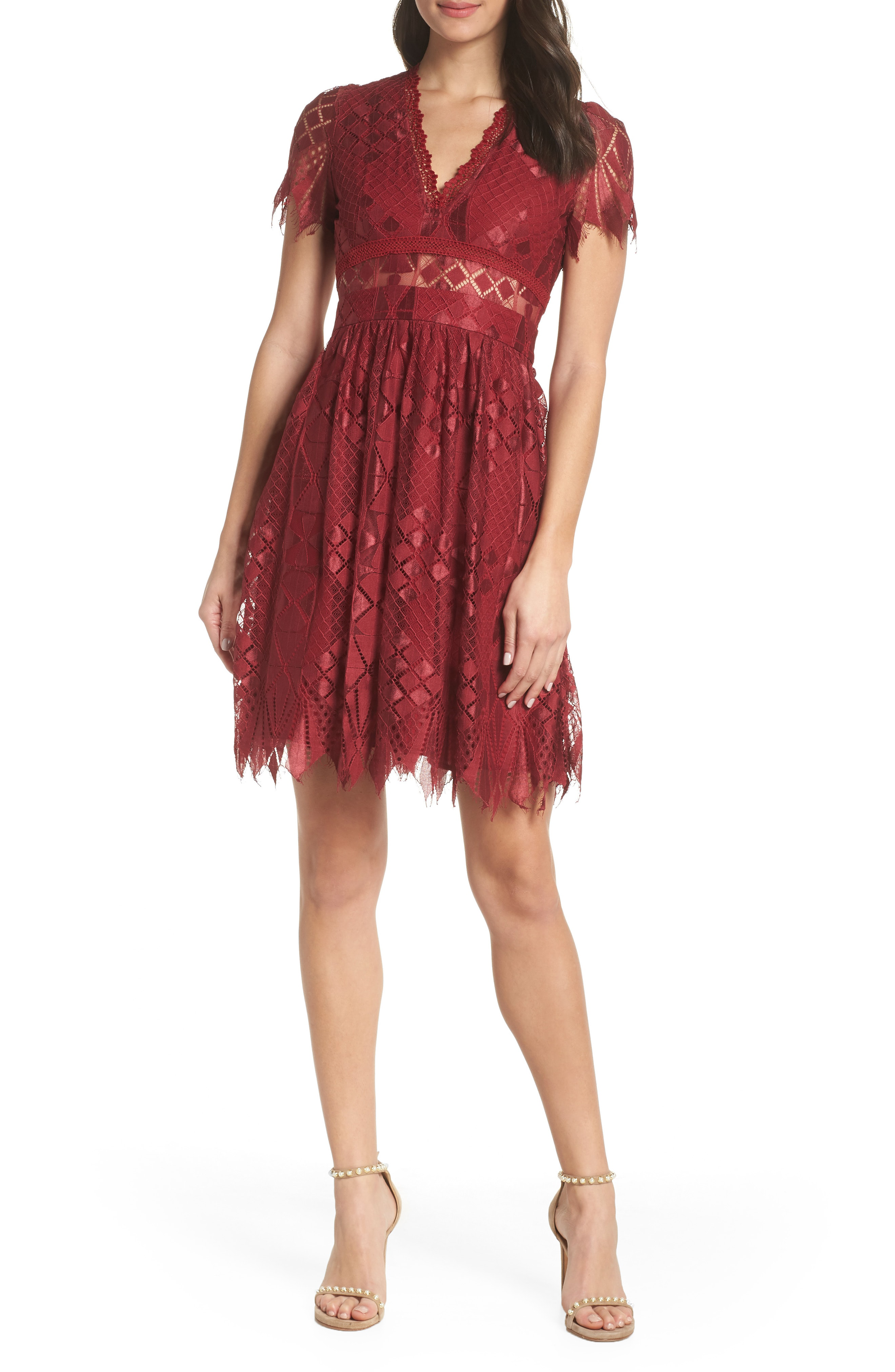 Bravo Zulu Lace Fit Flare Dress In Burgundy