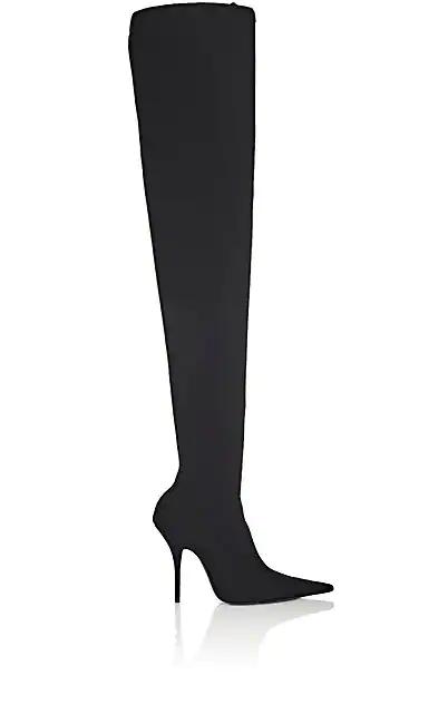 Balenciaga Knife Tech-Jersey Over-The-Knee Boots - Black