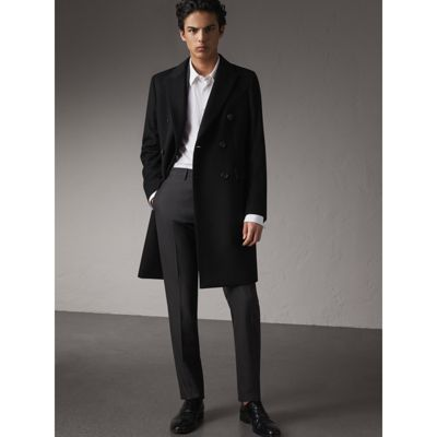 Burberry Double-breasted Wool Cashmere Tailored Coat In Black