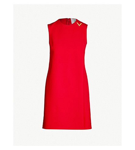Valentino Wrap Wool-Blend Mini Dress In Rosso