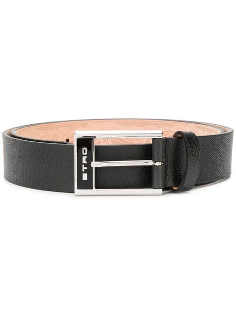 Etro Logo Buckle Belt In Black