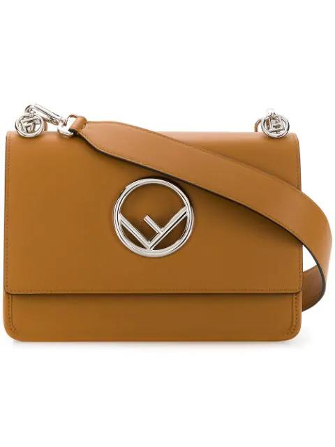 Fendi Kan F Shoulder Bag In Brown
