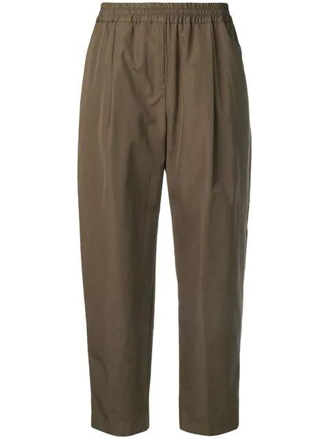 Aspesi Cropped Straight-leg Trousers In Green