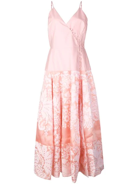 Rosie Assoulin Damask Wrap Front Midi Dress In Pink