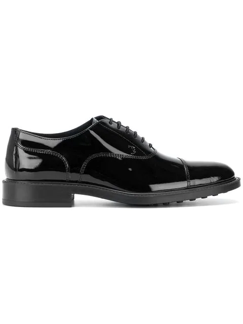 Tod's Black Classic Laced Up Shoes In Leather In B999