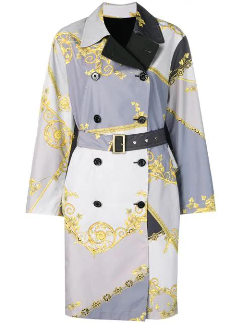 Versace Baroque Print Reversible Trench Coat In Grey