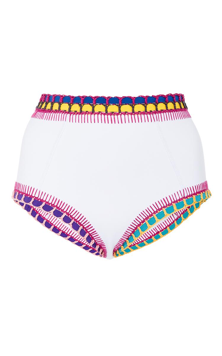 Kiini Flor High Waisted Bikini Bottom In White