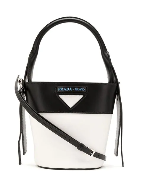 Prada Leather Bucket Bag In White
