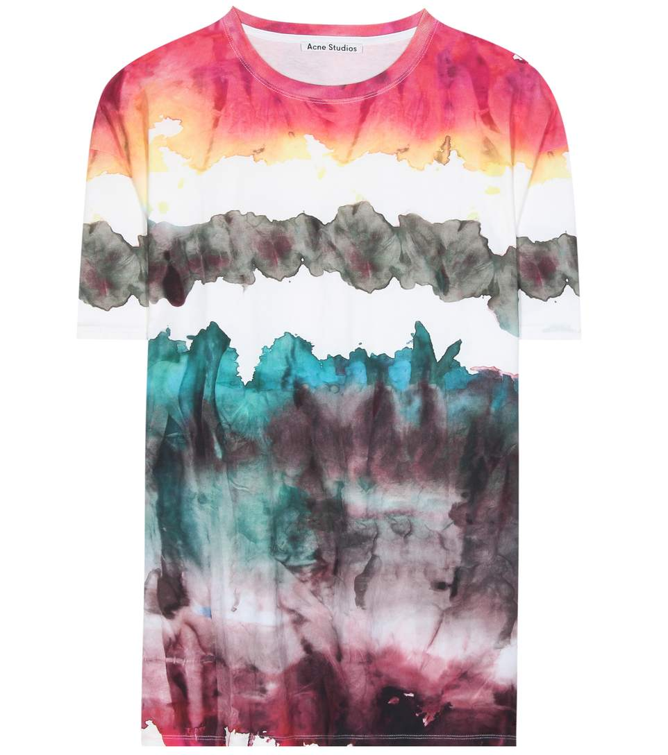 Acne Studios Olga Oil Tee In Abstract, Green, Ombre & Tie Dye, Red. In Female