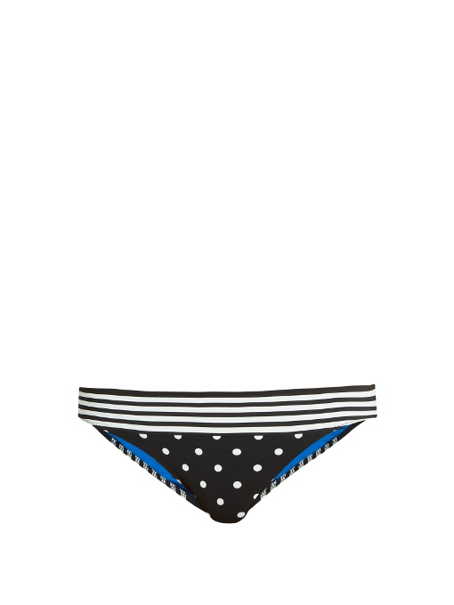 Stella Mccartney Striped & Polka Dot Swim Bottom, Black/white, Rtw Print