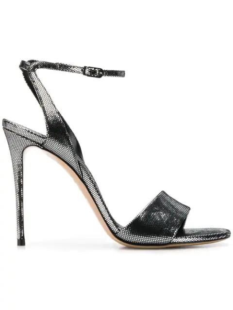 Casadei Ankle Strap Stiletto Sandals In Silver