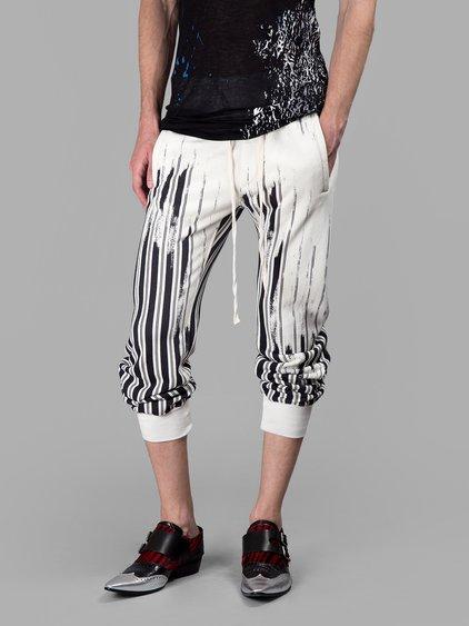 Haider Ackermann Black/white Cropped Striped Trousers In White/black