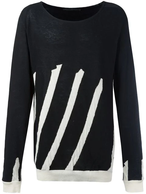Haider Ackermann Stripe Cotton-cashmere Sweater In Black