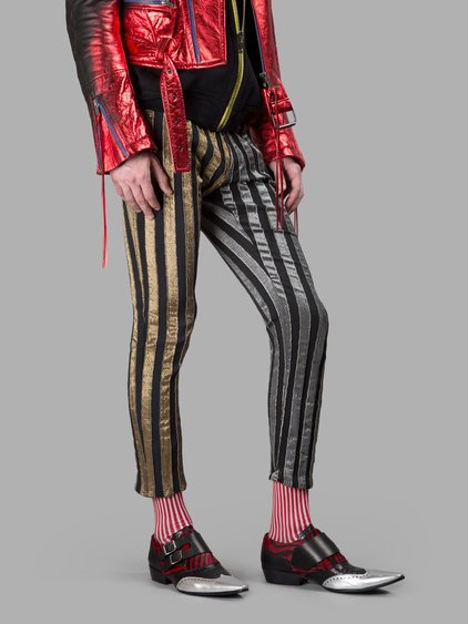 Haider Ackermann Gold/silver/black Striped Trousers