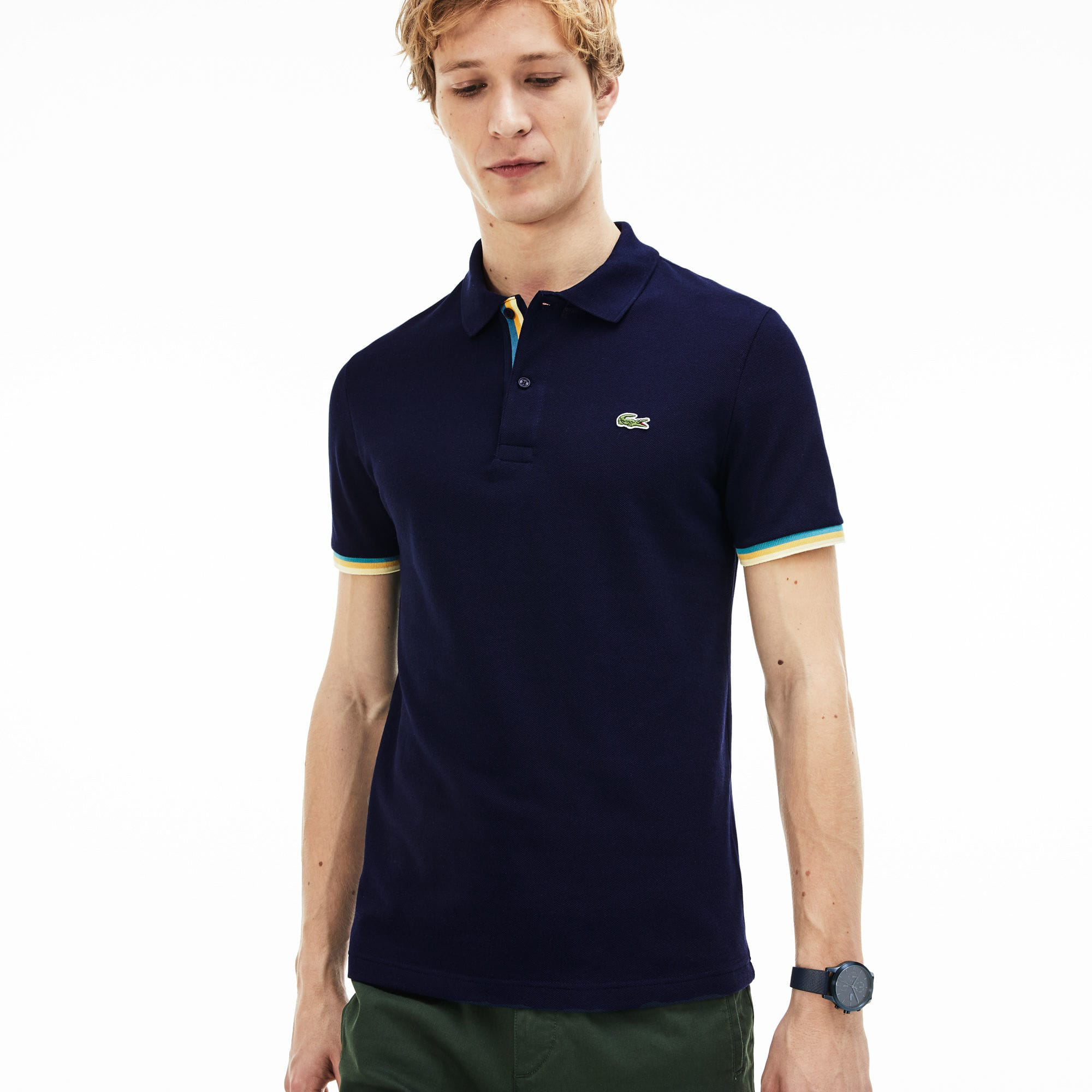 319040535 Lacoste Men's Slim Fit Petit PiquÉ Polo Shirt In Navy Blue | ModeSens