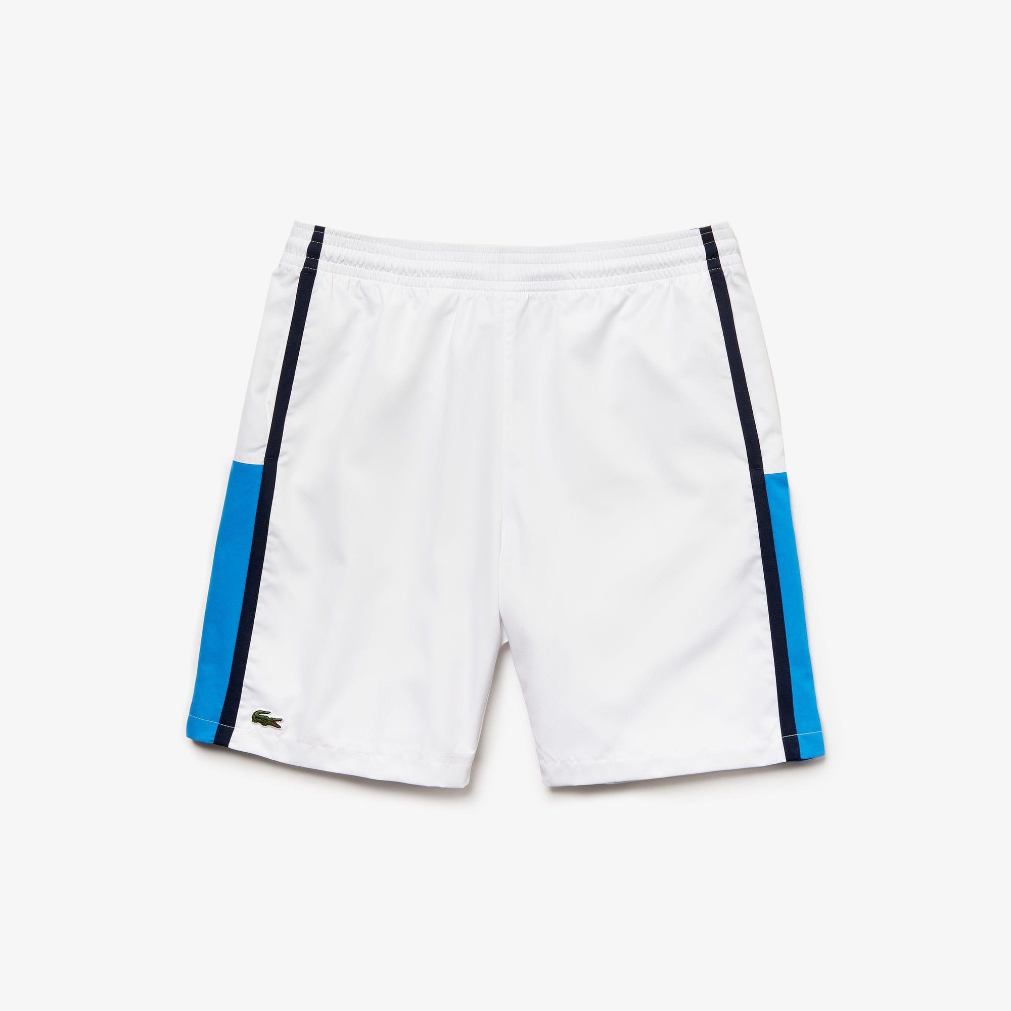 3dba95ede Lacoste Men s Sport Taffeta Tennis Shorts In White   Blue   Navy Blue