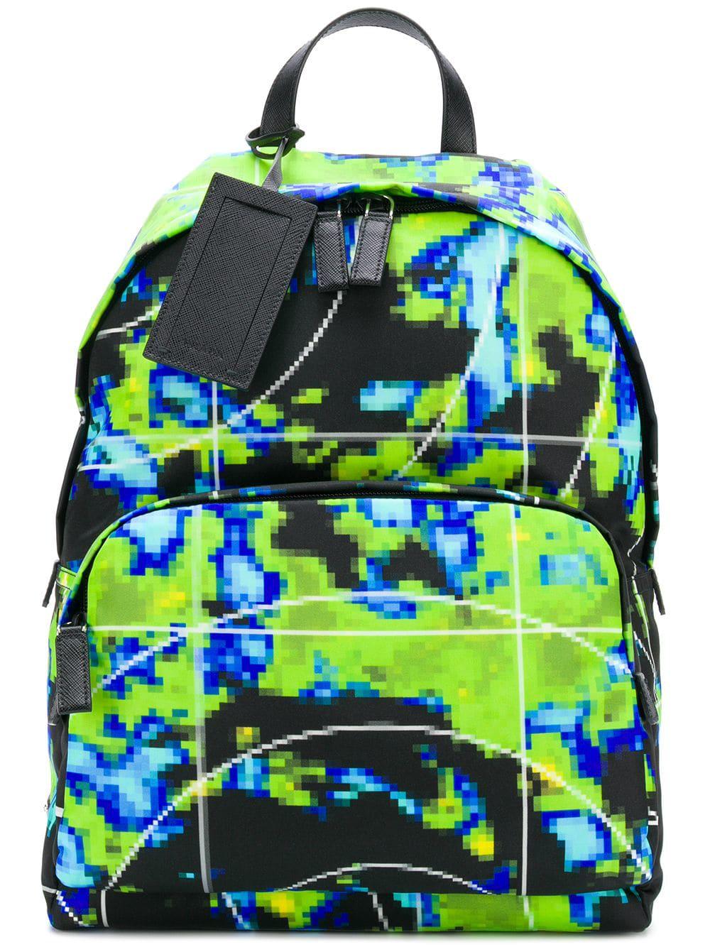 f0302e3e5692 Prada Pixel Print Backpack - Nero | ModeSens
