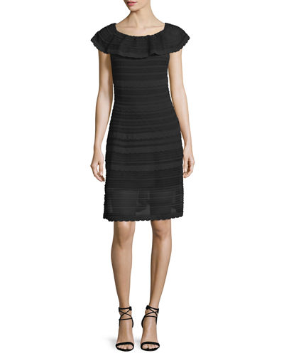 M Missoni Off-the-shoulder Scallop Dress In Black