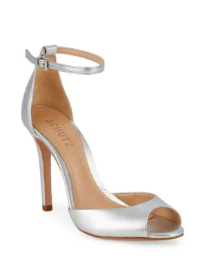 Schutz Classic Leather Ankle-strap Sandals In Silver