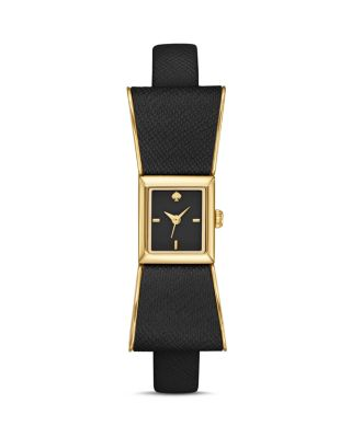 Kate Spade Kenmare Goldtone Stainless Steel & Saffiano Leather Bow Strap Watch/black