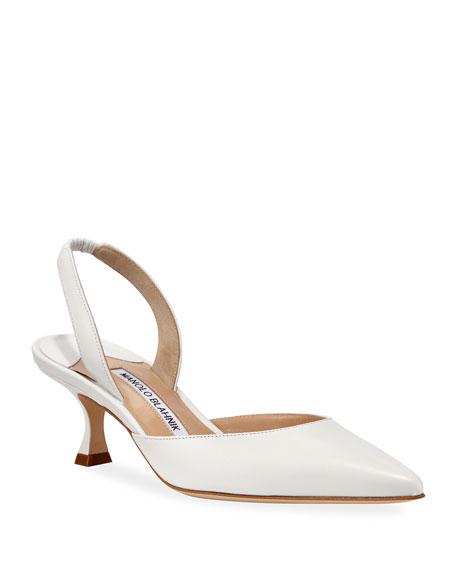 Manolo Blahnik Carolyne Low-Heel Leather Slingback Pumps In White