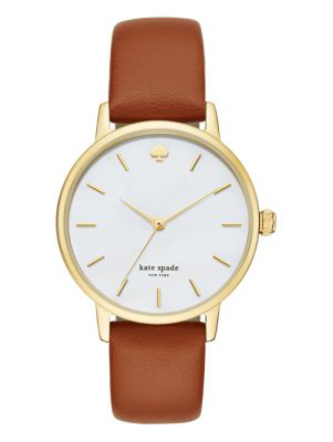 Kate Spade 'holland' Round Leather Strap Watch, 34mm In Luggage/gold