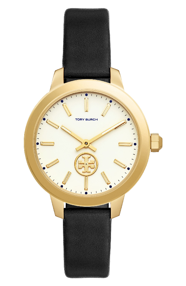 Tory Burch 'The Collins' Leather Strap Watch, 38Mm In Gold/ Black