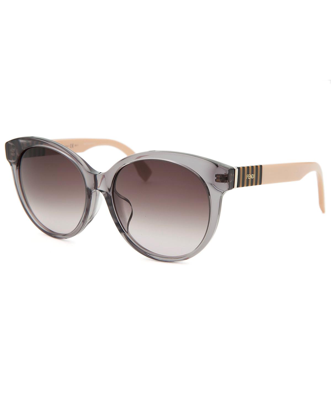 Fendi Asian Fit Ff0013fs 7te Crystal Grey Round Sunglasses