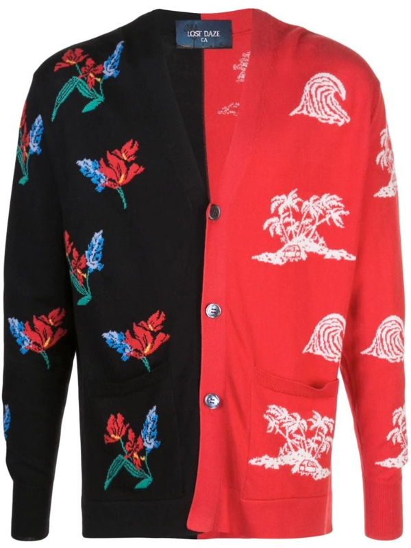 Lost Daze Aloha Two-tone Intarsia-knit Cotton-blend Cardigan In Red