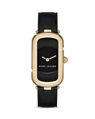 Marc Jacobs Monogram Goldtone Stainless Steel & Leather Strap Watch In Black