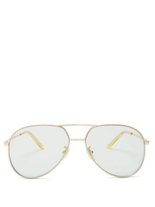 84f91c430 Gucci Aviator-Style Metal Sunglasses In Green | ModeSens