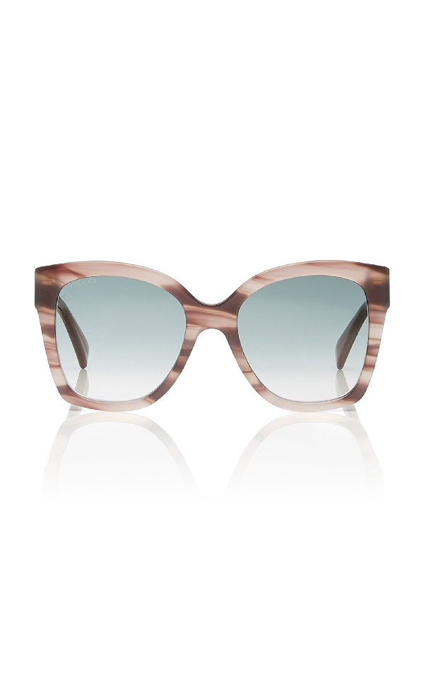 Gucci Marbled Acetate Square-Frame Sunglasses In Grey