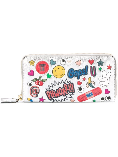 Anya Hindmarch All Over Wink Sticker Large Zip-around Wallet, Silver/multi, Silver Multi In White
