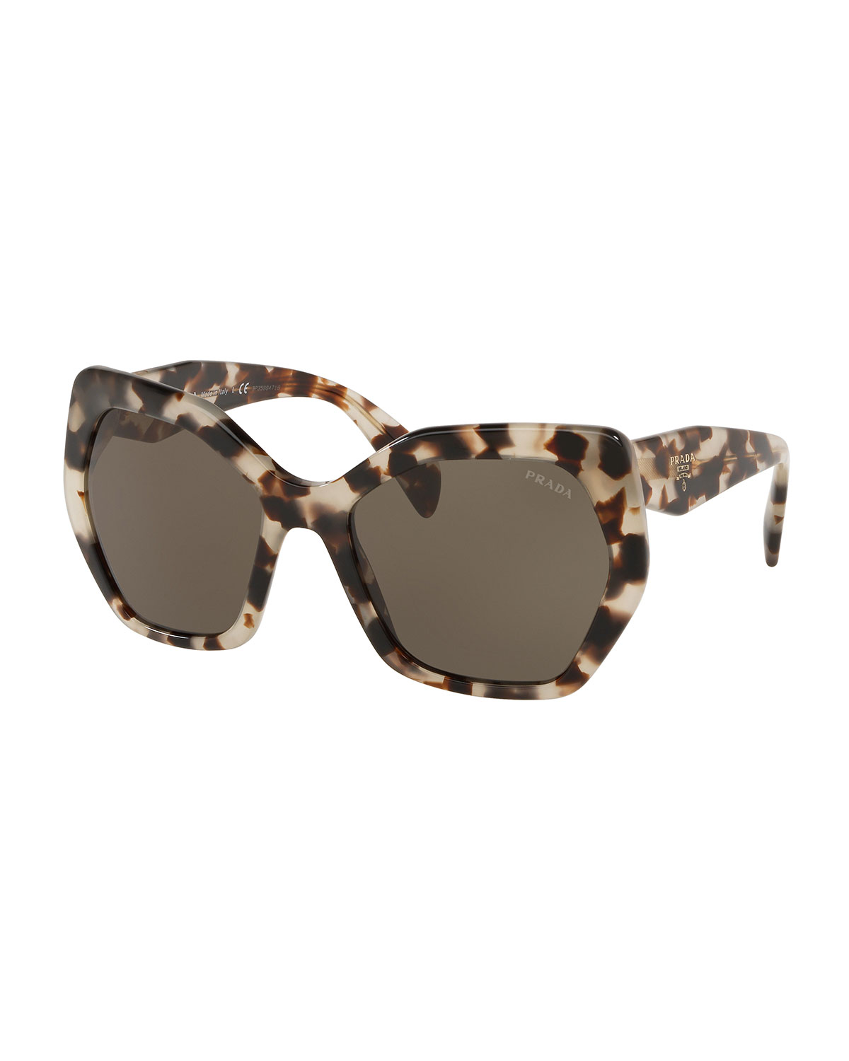 Prada Heritage Angled Butterfly Sunglasses In Spotted Brown