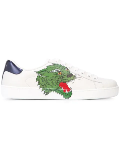 Gucci New Ace Tiger-Print Leather Trainers In 9064 White