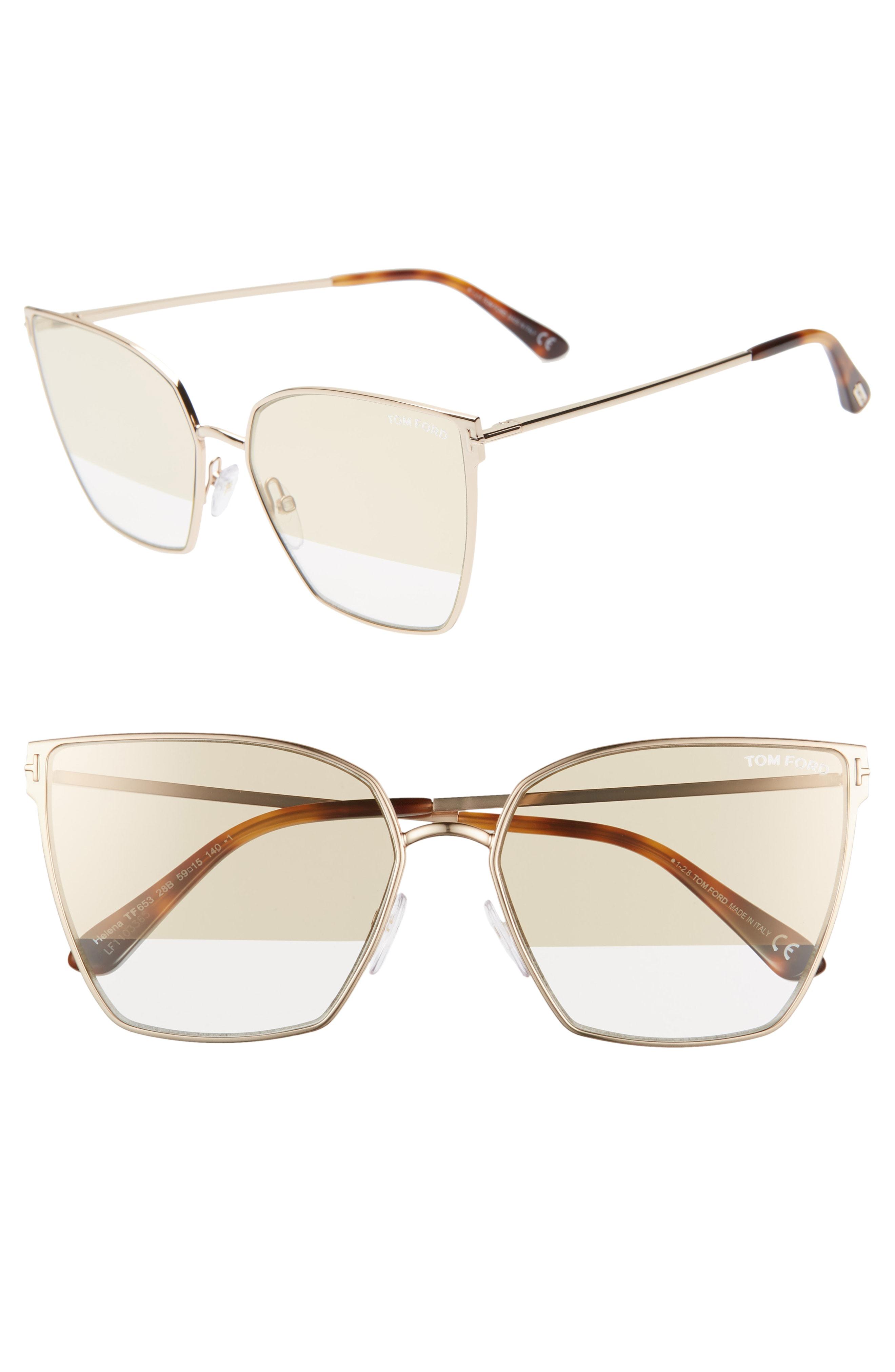 836812e76ae5 Tom Ford Helena 59Mm Cat Eye Sunglasses - Rose Gold  Havana  Smoke  Gold