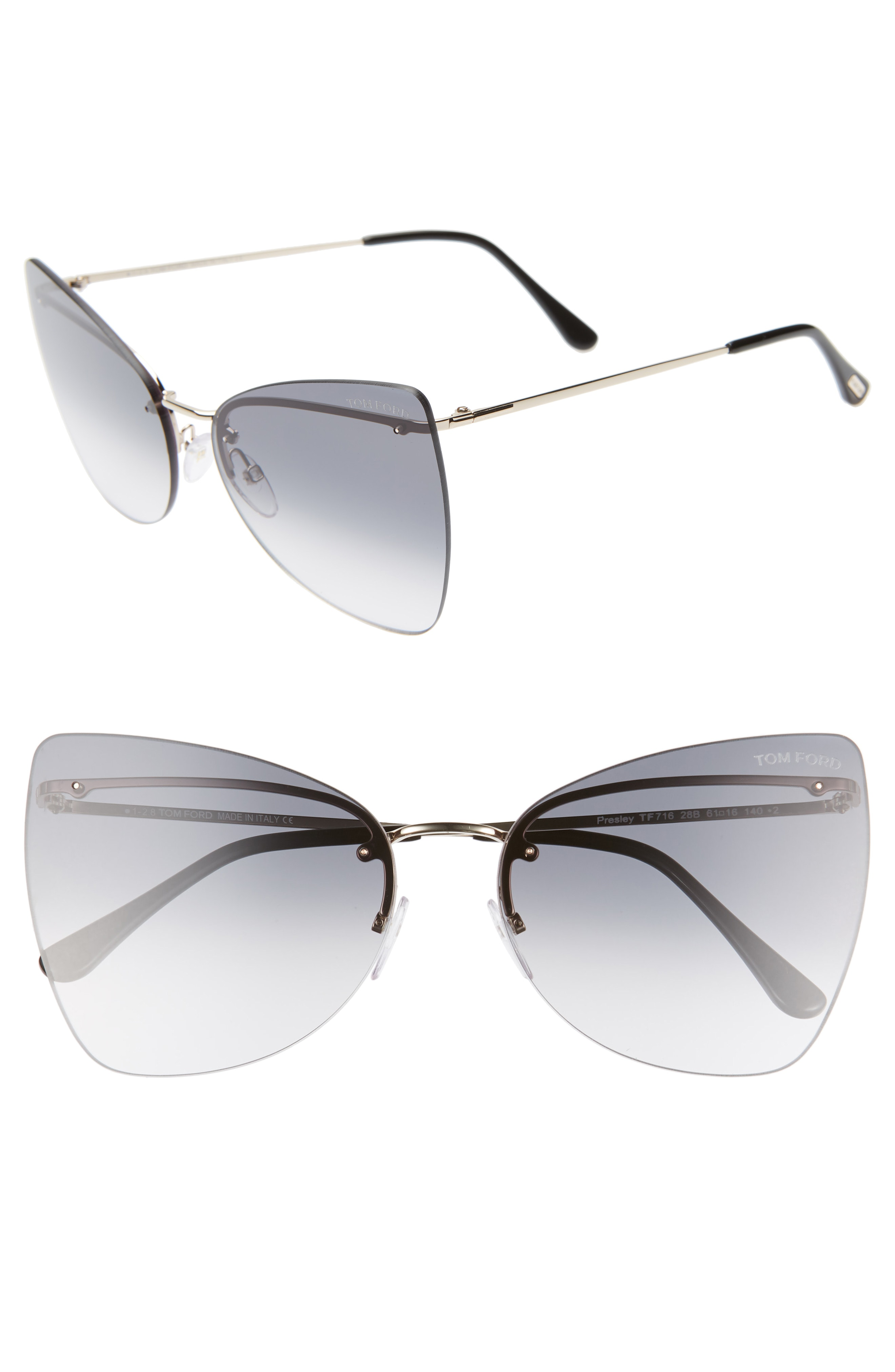 a31006183cd Oversized lenses made from lightweight nylon lend maximum impact to Italian  sunglasses with a sleek butterfly silhouette. Style Name  Tom Ford Presley  61Mm ...